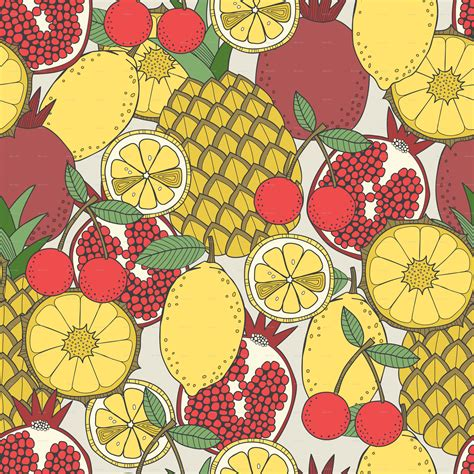 fruit pattern pinterest set of fruit and seamless fruit patterns by elenapro