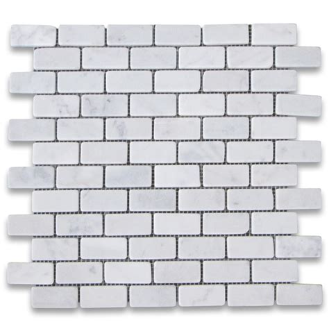 carrara white 1x2 medium brick mosaic tile tumbled