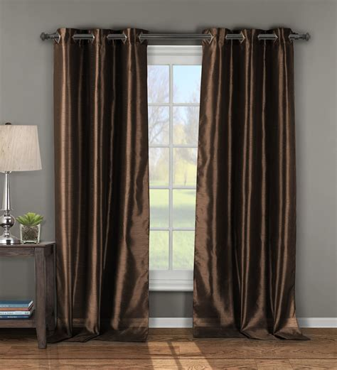 chocolate curtain panels pair of andreas chocolate faux silk window curtain panels