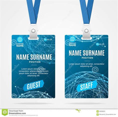 blue id card template id card template plastic badge vector stock vector