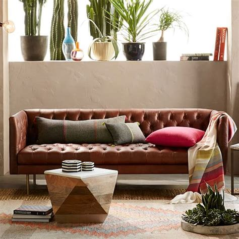 modern chesterfield leather sofa west elm