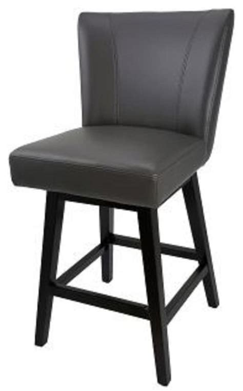Gray Leather Swivel Counter Stools by Swivel Leather Kitchen Counter Stool Gray Transitional