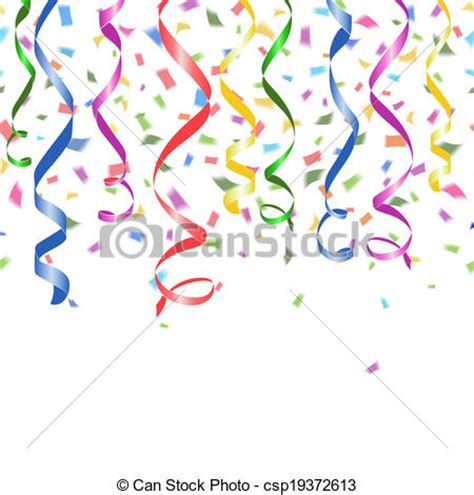 Vector Clip Art of Colorful confetti and twirled party