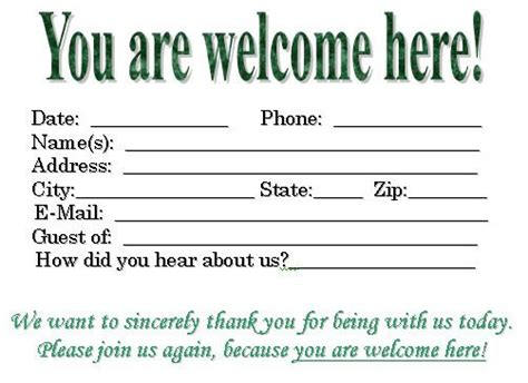Church Visitor Card Template Downloads by Visitor Card Template You Can Customize Church