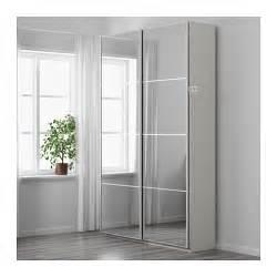 pax wardrobe white auli mirror glass 150x44x236 cm ikea