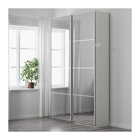 Ikea Wardrobes With Mirror by Pax Wardrobe White Auli Mirror Glass 150x44x236 Cm Ikea