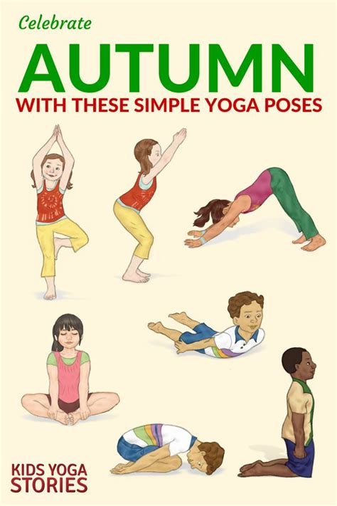 printable yoga poster 10 autumn yoga poses for kids printable poster kid