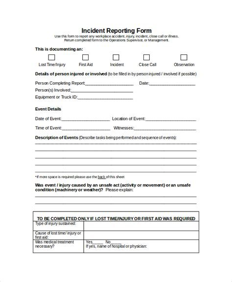 incident report form template word word report template 8 free word document downloads