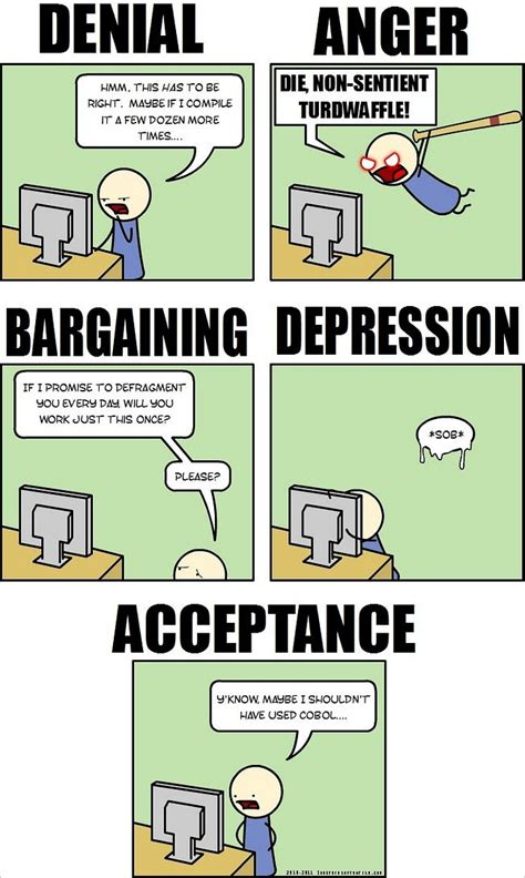 C Programming Meme - the five stages of programming grief humorous comic