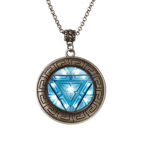 iron arc reactor logo bronze pendant necklace for