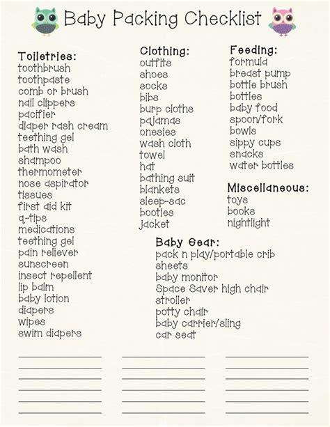 printable road trip checklist baby travel checklist free printable new babies baby