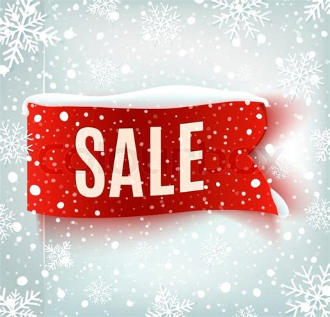 new year sale vector winter sale background with realistic ribbon banner