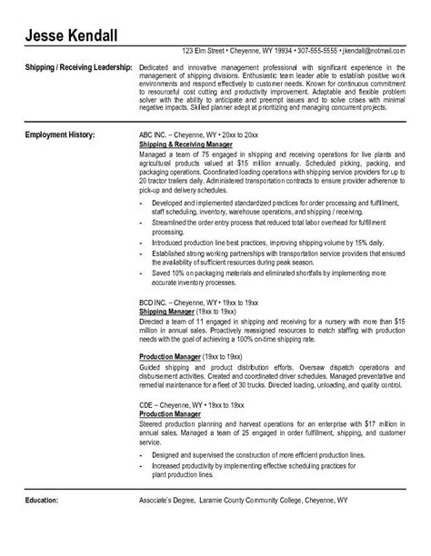 Shipping And Receiving Description For Resume by Resume For College Resume Template Free Doc