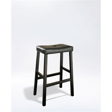 Bar Stools 29 Seat Height by Upholstered Saddle Seat Bar Stool In Black Finish With 29