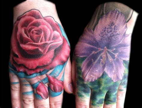red handed tattoo purple rhodedendron and tattoos by matt skin