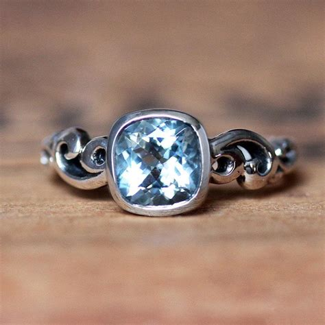aquamarine ring engagement march birthstone ring