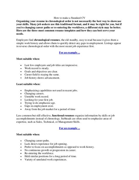 How To Make A Standard Resume by How To Make A Standard Cv