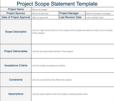 project scope statement template toreto co