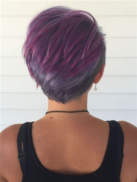 coloring pixie haircut back purple blue silver lavender pixie fun cute hairstyle