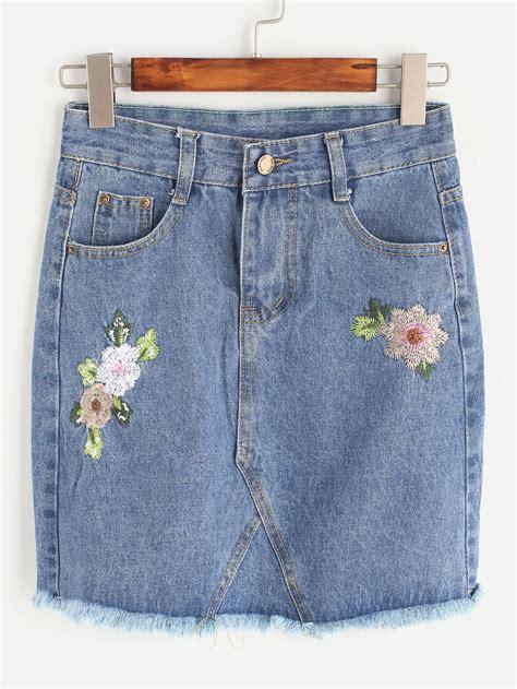 Flower Embroidered Denim Skirt flower embroidered frayed hem denim skirt shein sheinside