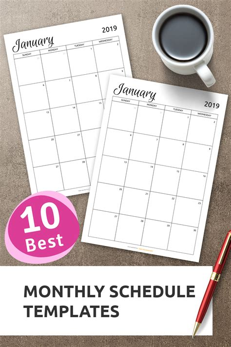 top  monthly schedule templates  stay organized    calendarprintable