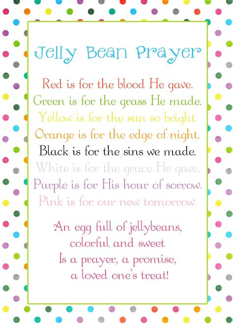 A Pocket full of LDS prints: Jelly Bean Prayer poem   Easter freebie