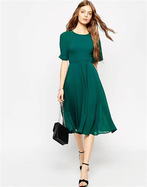 Sleeve Lace Up Midi Dress lyst asos lace up back kaftan sleeve midi dress in green