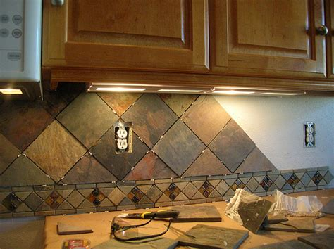 slate tile kitchen backsplash kitchen backsplash 4 quot slate tile on point flickr