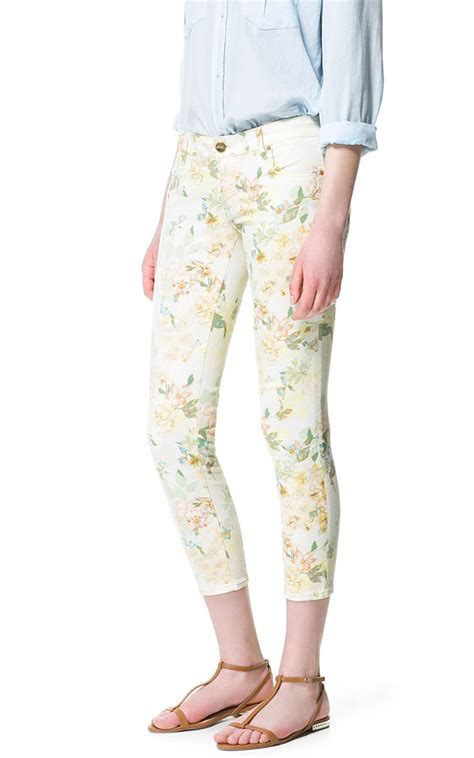 yellow patterned trousers zara floral print trousers in yellow light yellow lyst
