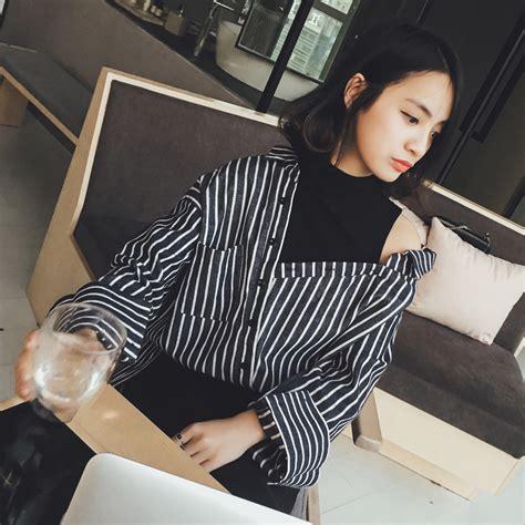 Kaos Wanita Lengan Panjang Stripe Navy Stellia high quality grosir ulzzang busana dari china ulzzang busana penjual aliexpress