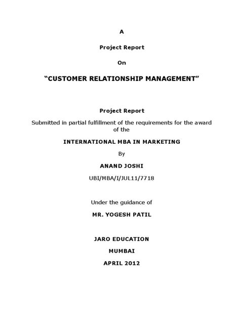 Customer Relationship Management Mba Project Report by Project Report Crm Mba Marketing Customer Relationship