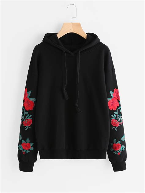 Fower Flower Sweater Hody drop shoulder flower embroidered sleeve hoodie emmacloth