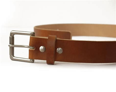 Handmade Mens Belts - mens handmade medium brown veg leather belt basader