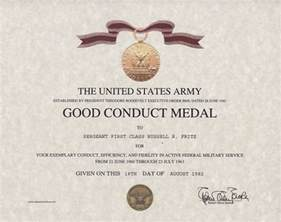 conduct certificate template army conduct medal certificate