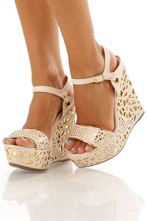 gold high heel wedges dazzle me wedges gold s