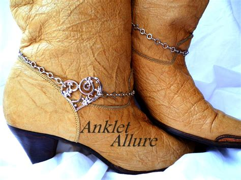 boot chains scrolled boot chains silver boot jewelry cowboy boots