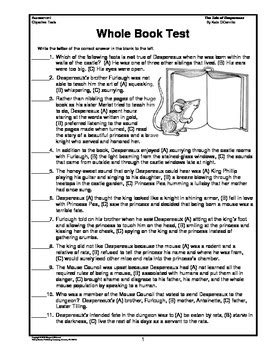 the tale of despereaux book report the tale of despereaux whole book test by margaret