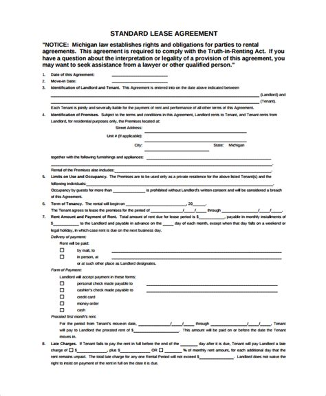 standard agreement template sle standard lease agreement 7 documents in word pdf