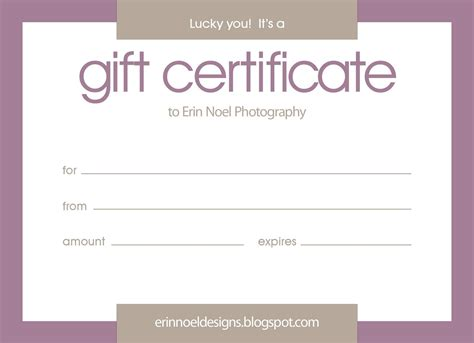 Gift Card Template by Purple Gift Certificate Template