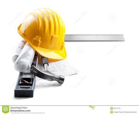 Free House Blueprints And Plans isolated hard hat with tools and blueprint on whit stock