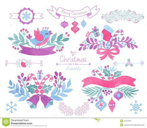design elements watercolor watercolor christmas design elements stock vector image