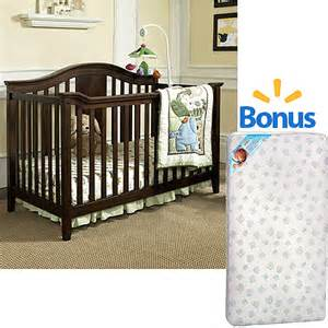 Walmart Crib Mattresses Baby Relax Lewis 4 In 1 Fixed Side Convertible Crib Espresso With Bonus Mattress Nursery