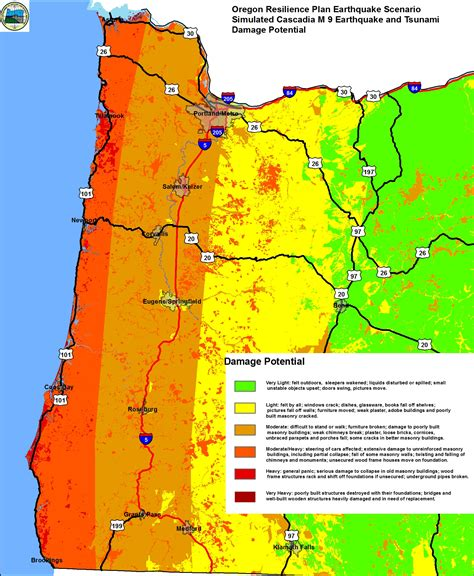 earthquake zone 2 damage potential map for magnitude 9 cascadia subduction