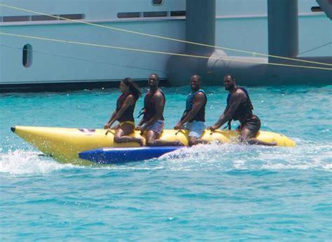 lebron banana boat lebron james rides banana boat with dwyane wade chris