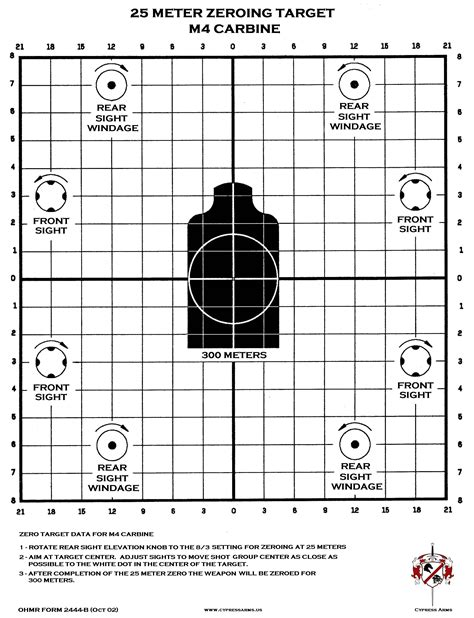 printable long range shooting targets m4 zeroing target printable shooting pinterest