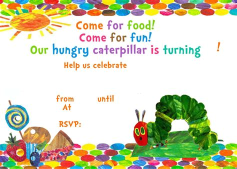 hungry caterpillar invitation template free hungry caterpillar invitation template free