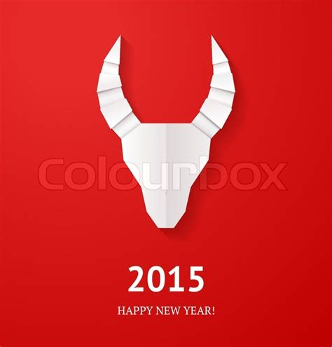 origami goat for new year origami goat on background new year card or