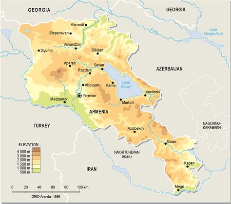 map of armenia detailed topographical map of armenia armenia detailed topographical map vidiani maps
