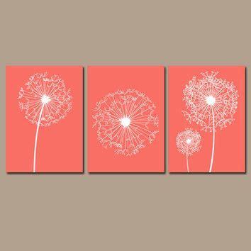 dandelion wall art flower artwork coral custom colors modern nursery set   prints decor