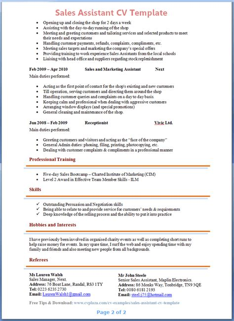 Resume Sle For Sales Assistant Preview Of Sales Assistant Cv 2